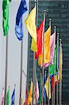 Colourful banners at the square with skyscrapers at the background, Lujiazui, Shanghai, China Stock Photo - Premium Rights-Managed, Artist: Oriental Touch, Code: 855-05981407