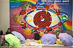 Filipinas gathering in Central on Sunday with a colourful wall painting in background, Central, Hong Kong Stock Photo - Premium Rights-Managed, Artist: Oriental Touch, Code: 855-05983187