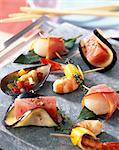 Seafood on Pierrade stone grill Stock Photo - Premium Rights-Managed, Artist: Photocuisine, Code: 825-05985130