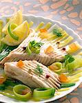 Skate and leek salad Stock Photo - Premium Rights-Managed, Artist: Photocuisine, Code: 825-05985294