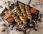 Poultry barbecue kebabs on rack Stock Photo - Premium Rights-Managed, Artist: Photocuisine, Code: 825-05985309