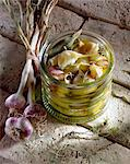jar of  preserved young garlic Stock Photo - Premium Rights-Managed, Artist: Photocuisine, Code: 825-05985984