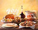 Christmas Eve buffet with roast goose, smoked trout, Kougloff and shortbread cookies Stock Photo - Premium Rights-Managed, Artist: Photocuisine, Code: 825-05985994
