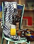 still life artist's studio with pint of beer Stock Photo - Premium Rights-Managed, Artist: Photocuisine, Code: 825-05986044