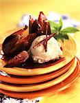 Roast figs with vanilla ice cream Stock Photo - Premium Rights-Managed, Artist: Photocuisine, Code: 825-05986134