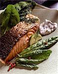 Salmon with sorrel Stock Photo - Premium Rights-Managed, Artist: Photocuisine, Code: 825-05986464