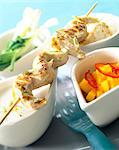 Chicken marinated in coconut milk kebabs with lime and mango Stock Photo - Premium Rights-Managed, Artist: Photocuisine, Code: 825-05986476