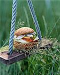 hamburger on swing Stock Photo - Premium Rights-Managed, Artist: Photocuisine, Code: 825-05986566