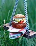Hamburger on swing outdoors Stock Photo - Premium Rights-Managed, Artist: Photocuisine, Code: 825-05986567