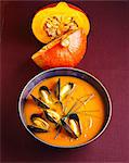 Pumpkin soup with mussels Stock Photo - Premium Rights-Managed, Artist: Photocuisine, Code: 825-05986767