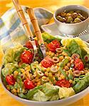 Sweetcorn, pepper, tomato and olive salad Stock Photo - Premium Rights-Managed, Artist: Photocuisine, Code: 825-05986930