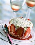 Rhubarb and strawberry Bavarois dessert Stock Photo - Premium Rights-Managed, Artist: Photocuisine, Code: 825-05987304