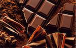 Cocoa, squares of chocolate and chocolate flakes Stock Photo - Premium Rights-Managed, Artist: Photocuisine, Code: 825-05987613