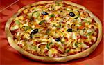 pepper, olive, mushroom and diced bacon pizza Stock Photo - Premium Rights-Managed, Artist: Photocuisine, Code: 825-05987632