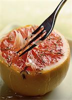 fork - Grilled grapefruit with fork Stock Photo - Premium Rights-Managednull, Code: 825-05988136