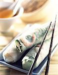 Spring rolls with chopsticks Stock Photo - Premium Rights-Managed, Artist: Photocuisine, Code: 825-05988818