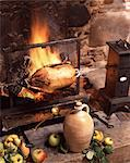 Goose spit roasting in fireplace Stock Photo - Premium Rights-Managed, Artist: Photocuisine, Code: 825-05988944