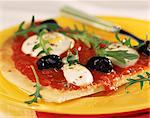 tomato and olive pizza Stock Photo - Premium Rights-Managed, Artist: Photocuisine, Code: 825-05990219