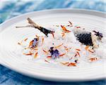 roast mackerel with marigold salt Stock Photo - Premium Rights-Managed, Artist: Photocuisine, Code: 825-05990516