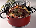 adding vegetables to roast  veal Stock Photo - Premium Rights-Managed, Artist: Photocuisine, Code: 825-05990603