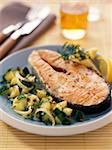 Salmon steak with courgettes Stock Photo - Premium Rights-Managed, Artist: Photocuisine, Code: 825-05991096