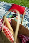 Food and drink on picnic blanket Stock Photo - Premium Royalty-Free, Artist: Photocuisine, Code: 632-05991627