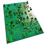 Computer artwork of a conceptual circuit cityscape made of electronic components. Stock Photo - Premium Royalty-Free, Artist: Matt Brasier, Code: 679-05992475