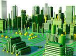 Computer artwork of a conceptual circuit cityscape made of electronic components. Stock Photo - Premium Royalty-Free, Artist: Marc Simon, Code: 679-05992479