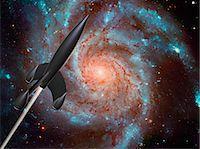 spaceship - Rocket in space, conceptual computer artwork. Stock Photo - Premium Royalty-Freenull, Code: 679-05992720