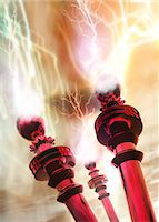 Tesla coils firing, computer artwork Stock Photo - Premium Royalty-Freenull, Code: 679-05992747