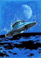 spaceship - UFO, conceptual computer artwork. Stock Photo - Premium Royalty-Freenull, Code: 679-05992801