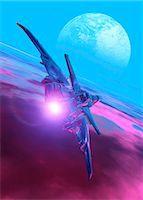 spaceship - Alien spaceship, computer artwork. Stock Photo - Premium Royalty-Freenull, Code: 679-05992813