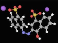 Azorubine, molecular model. Synthetic red food dye. Atoms are represented as spheres and are colour-coded: carbon (grey), hydrogen (white), nitrogen (blue), oxygen (red) and sulfur (yellow). Sodium ions are violet. Stock Photo - Premium Royalty-Freenull, Code: 679-05992893