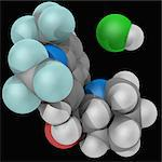 Mefloquine hydrochloride, molecular model. Drug used to both prevent and treat certain forms of malaria. Atoms are represented as spheres and are colour-coded: carbon (grey), hydrogen (white), nitrogen (blue), oxygen (red), fluorine (cyan) and chlorine (green). Stock Photo - Premium Royalty-Free, Artist: Science Faction, Code: 679-05995899