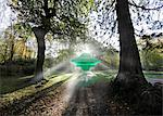 UFO landing on Earth, composite image. Stock Photo - Premium Royalty-Freenull, Code: 679-05996317