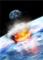 exploding - Asteroid impact seen from space, computer artwork. Stock Photo - Premium Royalty-Freenull, Code: 679-05996362