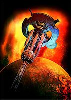 spaceship - Alien spaceship, computer artwork. Stock Photo - Premium Royalty-Freenull, Code: 679-05996369