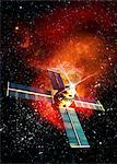 Solar flare hitting satellite, computer artwork. Stock Photo - Premium Royalty-Free, Artist: Jose Luis Stephens, Code: 679-05996412