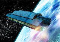 spaceship - Futuristic space station, computer artwork. Stock Photo - Premium Royalty-Freenull, Code: 679-05996415