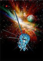 spaceship - Deep space probe, computer artwork. Stock Photo - Premium Royalty-Freenull, Code: 679-05996419