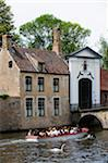 Europe, Belgium, Flanders, Bruges, tourist boat trip on the canal, old town, Unesco World Heritage Site Stock Photo - Premium Rights-Managed, Artist: AWL Images, Code: 862-05996863