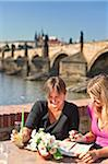 Europe, Czech Republic, Central Bohemia Region, Prague. Riverside Cafe. Stock Photo - Premium Rights-Managed, Artist: AWL Images, Code: 862-05997459