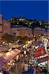 Nice, Provence Alpes Cote d'Azur, France. The street market stalls and restaurants of Place Charles Felix in the old town of Nice  by night Stock Photo - Premium Rights-Managed, Artist: AWL Images, Code: 862-05997666