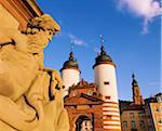 Germany, Bavaria, Heidelberg, Statue on bridge and Heidelberg gate Stock Photo - Premium Rights-Managed, Artist: AWL Images, Code: 862-05997784