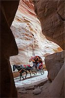 Horse drawn carriage travelling through The Siq, a narrow canyon passage leading to The Treasuary, Petra Stock Photo - Premium Rights-Managednull, Code: 862-05998318