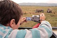 Boy photographing white rhino from a vehicle in Oserian Wildlife Sanctuary, near Lake Naivasha, Kenya. Stock Photo - Premium Rights-Managednull, Code: 862-05998399