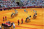 Spain, Andalusia, Seville; The participants of a bull-fight presenting themselves in the arena Stock Photo - Premium Rights-Managed, Artist: AWL Images, Code: 862-05999158