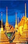 Thailand, bangkok, Chedis at Wat Pho, Dusk Stock Photo - Premium Rights-Managed, Artist: AWL Images, Code: 862-05999509