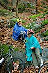 Mature couple in forest with bicycles Stock Photo - Premium Royalty-Free, Artist: Ascent Xmedia, Code: 614-06002098