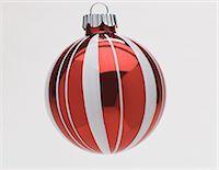 Red and white Christmas bauble, studio shot Stock Photo - Premium Royalty-Freenull, Code: 614-06002245